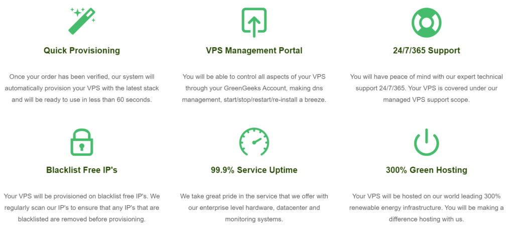 GreenGeeks VPS hosting features