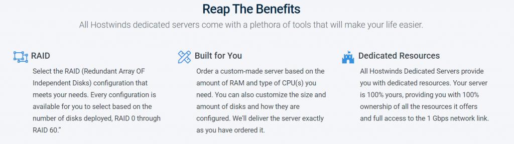 Dedicated Server Hosting features