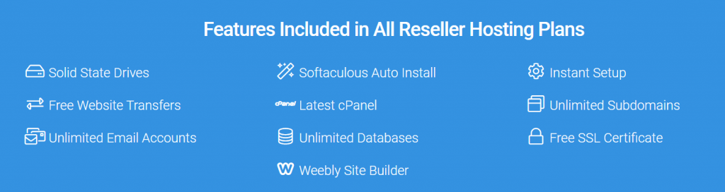 Reseller hosting plans features